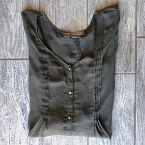 Forever 21 Green Chiffon Blouse with Gold Buttons